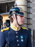 Guard at the Royal Palace of Stockholm Stock Photos
