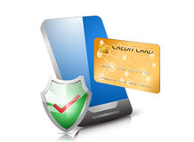 Guard shield. Glossy guard shield protect shopping online with credit card on mobile Stock Image