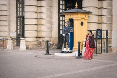 Guard stands on duty at the Royal palace in Stockholm, Sweden. Stock Photography