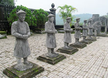 Guard statues at emperor Khai Dinh Tomb in Hue, Vietnam Royalty Free Stock Photos