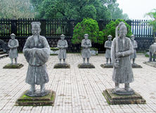 Guard statues at emperor Khai Dinh Tomb Royalty Free Stock Photo