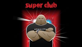 Guard super club. Security guard stands in front of the super club, crossed his arms over his chest Royalty Free Stock Image