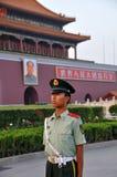Guard at Tiananmen Square. A paramilitary police guard stood straight at Tiananmen Square in Beijing stock image