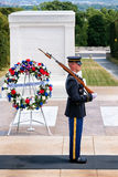 Guard at the Tomb of the Unknown  at Arlington National Cemetery Royalty Free Stock Photos