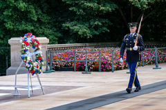 Guard at the Tomb of the Unknown  at Arlington National Cemetery Royalty Free Stock Photo