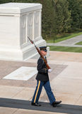 Guard at the Tomb of the Unknowns, Arlington National Cemetery. A solider from the 'Old Guard' stands guard at the Tomb of the Unknowns in Arlington National Royalty Free Stock Images
