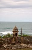 Guard Tower. Sentry box at Fort San Cristobal in Old San Juan, Pto. Rico.  Its construction began in 1634 and when it was completed about 150 years later, it Royalty Free Stock Images