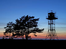 Guard tower. Silhouette of an abandoned guard tower Stock Photography