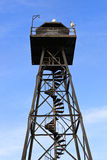 Guard Tower on Alcatraz. Alcatraz guard tower on a blue sky stock photo