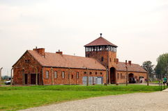 Guard tower at Auschwitz 2 - Birkenau. The view of the guard tower from inside the concentration camp Stock Images