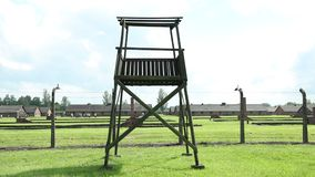 Guard Tower Auschwitz-Birkenau Concentration Camp, War Memorial, Cinematic, Panning.