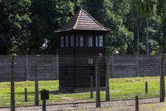Guard tower in Auschwitz I extermination camp Stock Photo