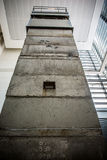 Guard Tower from East Berlin. Also known as Death tower, this three story tower housed armed guards and search lights in East Berlin along its border with Stock Photo