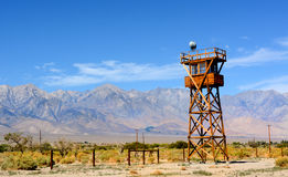 Guard tower at the Manzanar Detention Center from World War II Royalty Free Stock Images