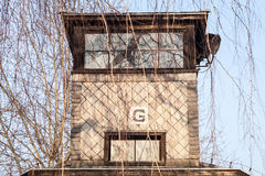 Guard tower next to the gate of the concentration camp. Stock Photography
