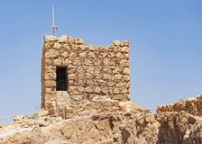 Herodian Guard Tower at Masada in Israel. Guard tower at the north end of the masada near the in israel with modern security cameras mounted on top against a stock photos