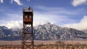 Guard Tower Searchlight Manzanar National Historic Site California stock video