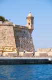 The Guard tower on the tip of the Singlea bastion. Malta. Stock Photos