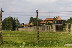 Guard towers of Auschwitz II -Birkenau Extermination camp Stock Photography