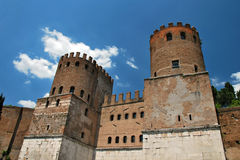 Guard Towers on the Rome city walls. Two stone guard towers of the Rome ancient city Stock Photo