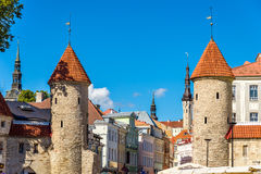 Guard towers of Viru Gate in Tallinn Stock Images
