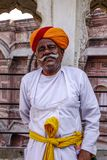 Guard in traditional costume of ancient fort stock images