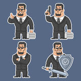 Guard in various poses stickers 2 Royalty Free Stock Image