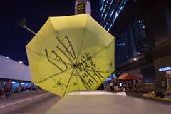 Guarda-chuva amarelo, uma rua que obstrui a demonstração em 2014, Admira Imagens de Stock Royalty Free