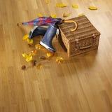 Guarda-chuva, botas, cesta e folhas do autmn no parquet Fotos de Stock Royalty Free