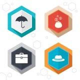 Guarda-chuva, carteira e chapéu com caso Fotografia de Stock Royalty Free