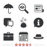 Guarda-chuva, carteira e chapéu com caso Imagens de Stock Royalty Free