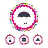 Guarda-chuva, carteira e chapéu com caso Foto de Stock Royalty Free