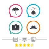 Guarda-chuva, carteira e chapéu com caso ilustração stock