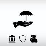 Guarda-chuva com ícone da mão, ilustração do vetor Estilo liso do projeto Imagens de Stock Royalty Free