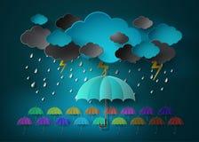 Guarda-chuva com chuva pesada da queda no céu escuro ilustração do vetor