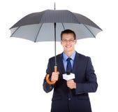 Guarda-chuva do journalista da notícia Fotografia de Stock Royalty Free