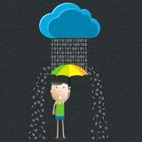 Guarda-chuva dos desenhos animados, o conceito da proteção de dados Foto de Stock