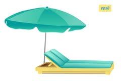 Guarda-chuva e chaise de praia Fotografia de Stock