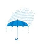 Guarda-chuva e chuva ilustração stock