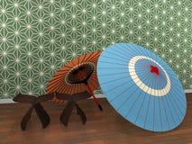 Guarda-chuva japonês ilustração do vetor