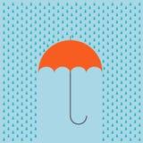 Guarda-chuva moderno do vetor com fundo da chuva ilustração do vetor