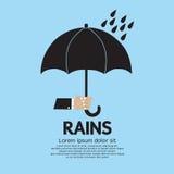 Guarda-chuva na chuva. ilustração stock