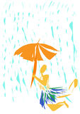 Guarda-chuva na chuva Imagens de Stock Royalty Free