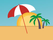 Guarda-chuva na praia Fotografia de Stock
