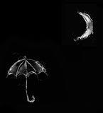 Guarda-chuva preto da água no luar Fotografia de Stock Royalty Free