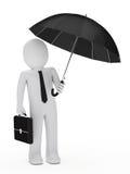 Guarda-chuva preto do homem de negócios Imagens de Stock