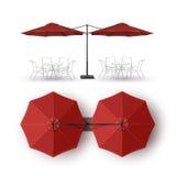 Guarda-chuva redondo do restaurante exterior vermelho da sala de estar do café da praia do dobro do pátio ilustração do vetor