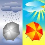 Guarda-chuva vermelho cinzento e brilhante Imagens de Stock Royalty Free