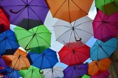 Guarda-chuvas coloridos abertos Imagem de Stock Royalty Free