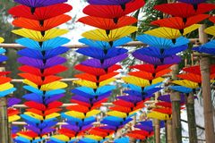 Guarda-chuvas coloridos que penduram na madeira de bambu em Chiang Mai Flower Festival imagens de stock